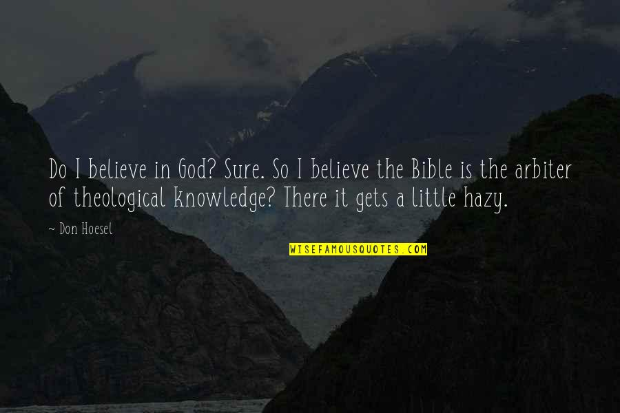 I Do Believe Quotes By Don Hoesel: Do I believe in God? Sure. So I