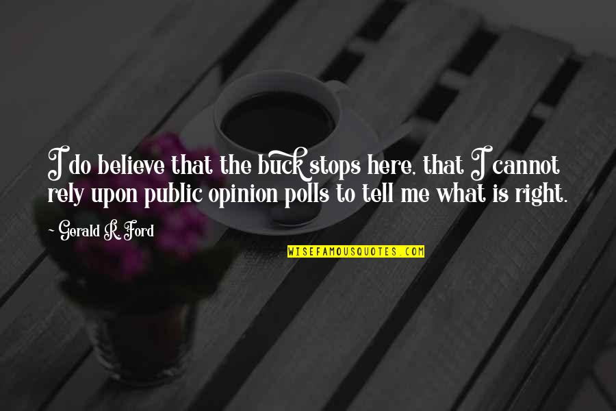 I Do Believe Quotes By Gerald R. Ford: I do believe that the buck stops here,