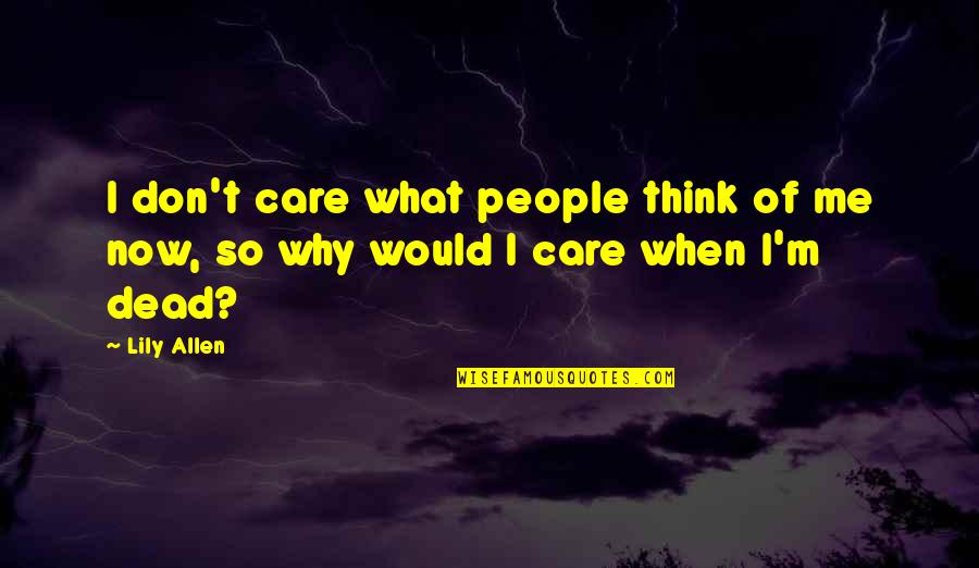 I Don't Care What You Think Of Me Quotes By Lily Allen: I don't care what people think of me
