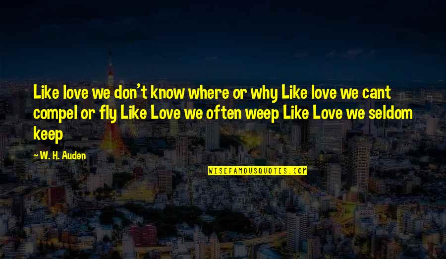 I Don't Know Why I Love You Quotes By W. H. Auden: Like love we don't know where or why