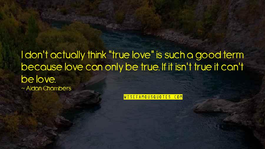 "I Don't Love You Because Quotes By Aidan Chambers: I don't actually think ""true love"" is such"
