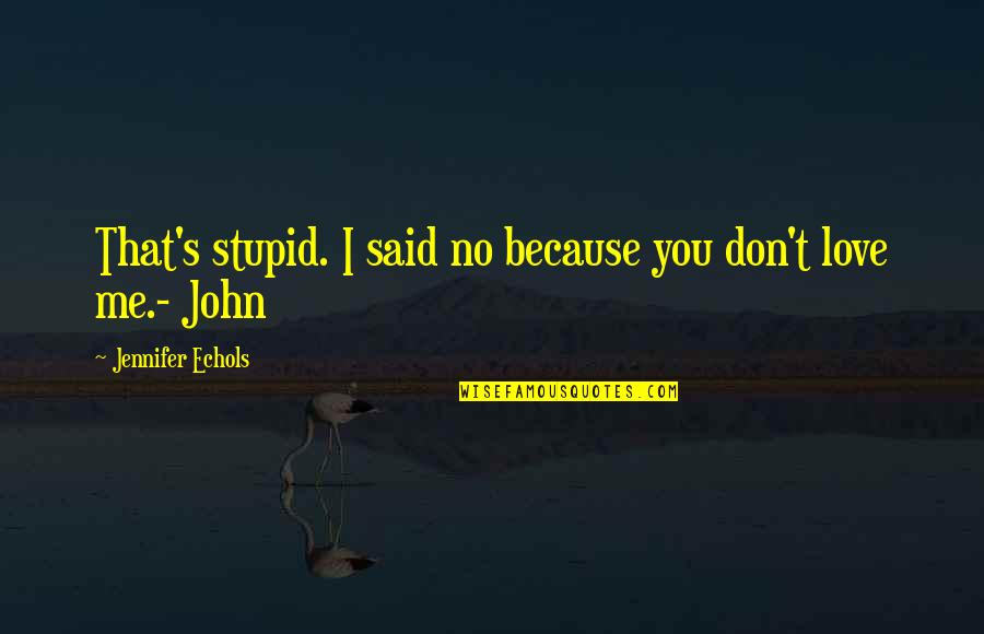 I Don't Love You Because Quotes By Jennifer Echols: That's stupid. I said no because you don't
