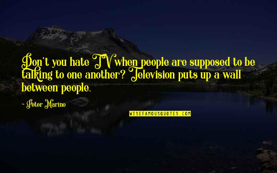 I Don't Really Hate You Quotes By Peter Marino: Don't you hate TV when people are supposed
