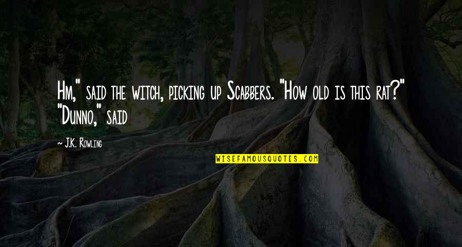 """I Dunno Quotes By J.K. Rowling: Hm,"""" said the witch, picking up Scabbers. """"How"""