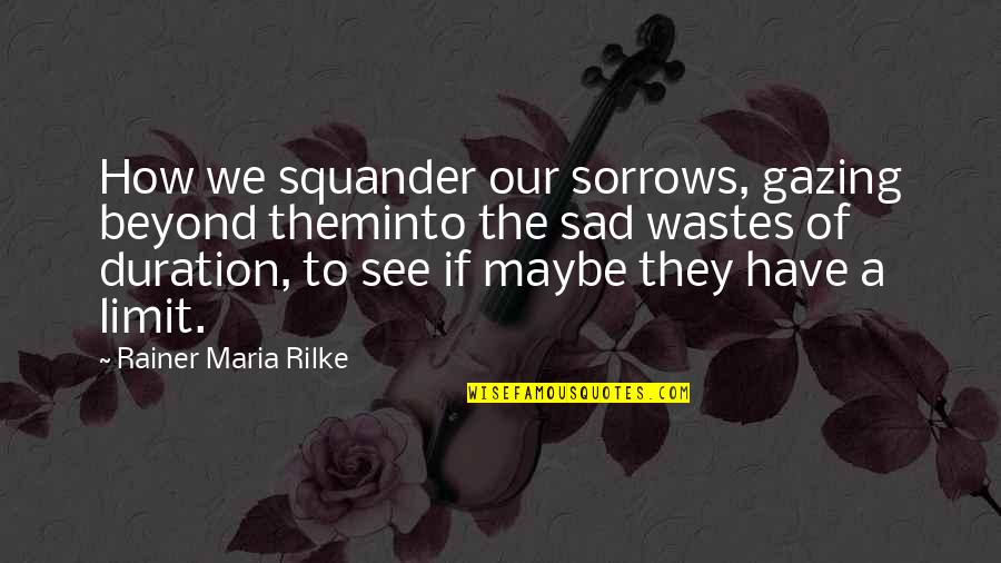 I Dunno Quotes By Rainer Maria Rilke: How we squander our sorrows, gazing beyond theminto