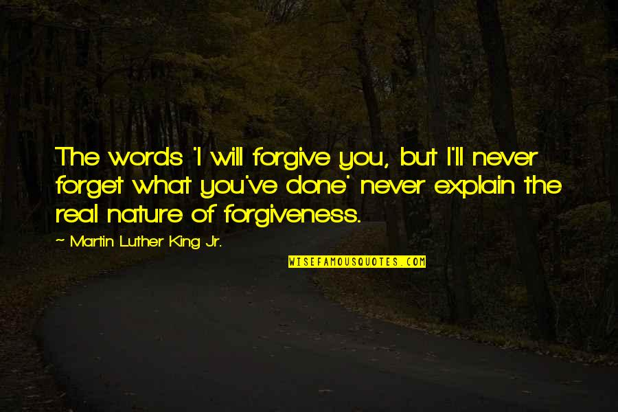 I Forgive You Quotes By Martin Luther King Jr.: The words 'I will forgive you, but I'll