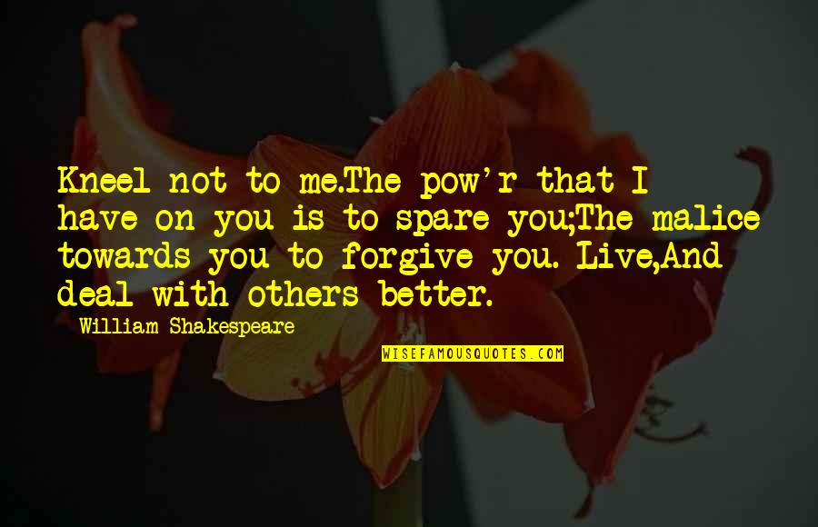 I Forgive You Quotes By William Shakespeare: Kneel not to me.The pow'r that I have
