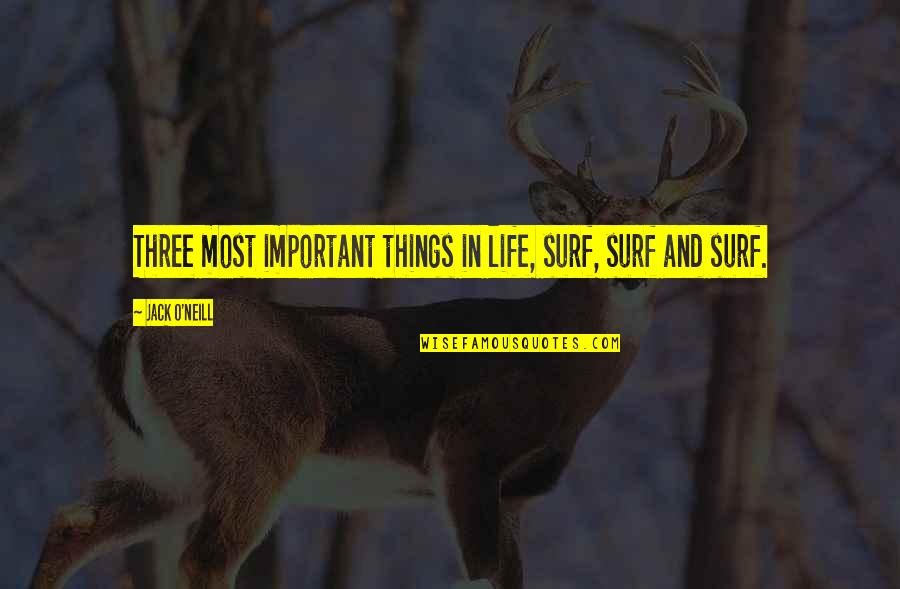 I Hate Casteism Quotes By Jack O'Neill: Three most important things in life, surf, surf
