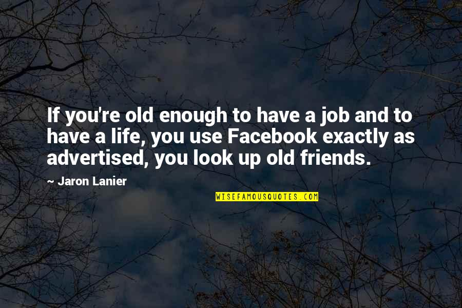 I Have Enough Friends Quotes By Jaron Lanier: If you're old enough to have a job