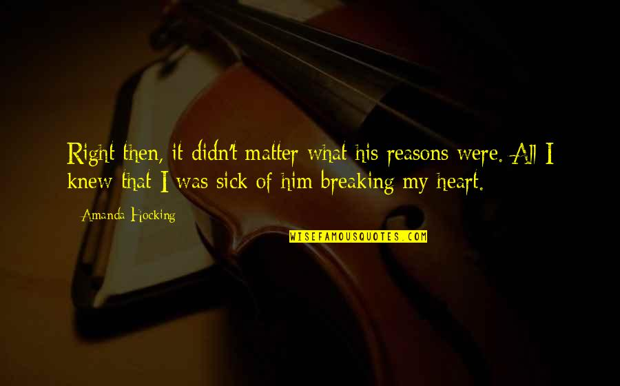 I Heart Him Quotes By Amanda Hocking: Right then, it didn't matter what his reasons