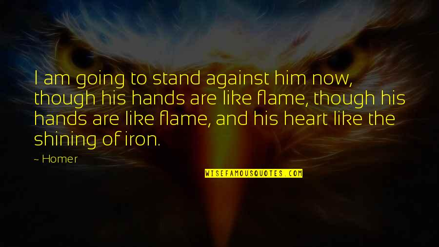 I Heart Him Quotes By Homer: I am going to stand against him now,