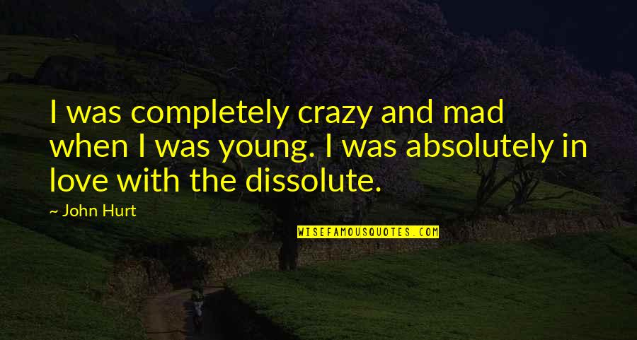 I Hope She Knows Quotes By John Hurt: I was completely crazy and mad when I