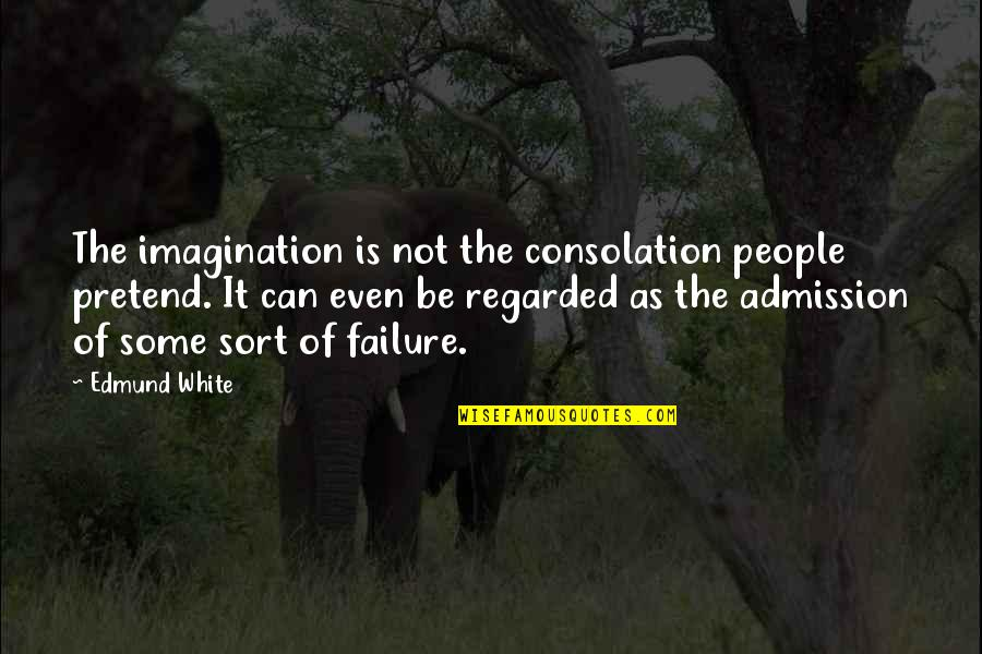 I Just Can't Pretend Quotes By Edmund White: The imagination is not the consolation people pretend.