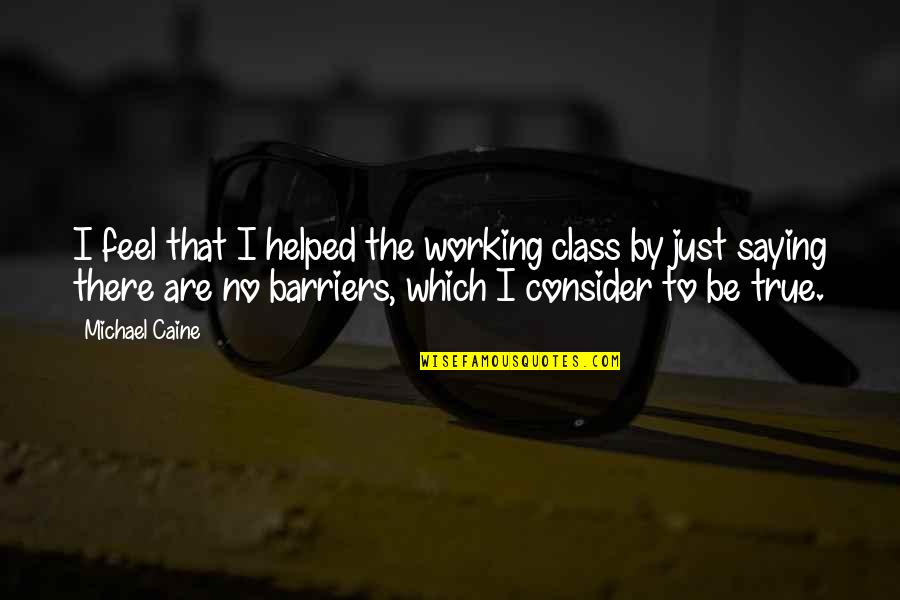 I Just Saying Quotes By Michael Caine: I feel that I helped the working class