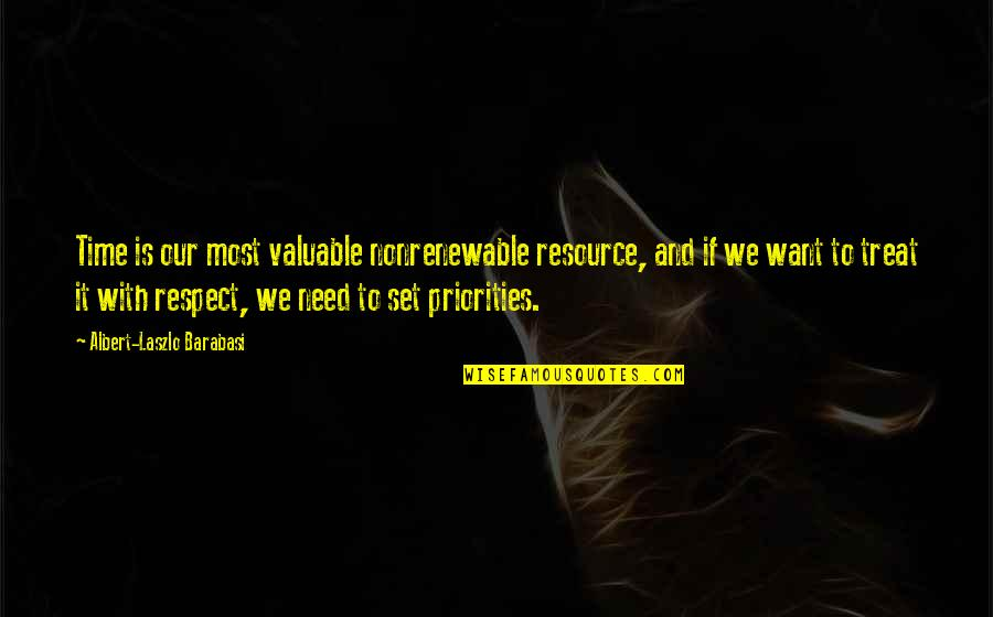 I Just Want Respect Quotes By Albert-Laszlo Barabasi: Time is our most valuable nonrenewable resource, and