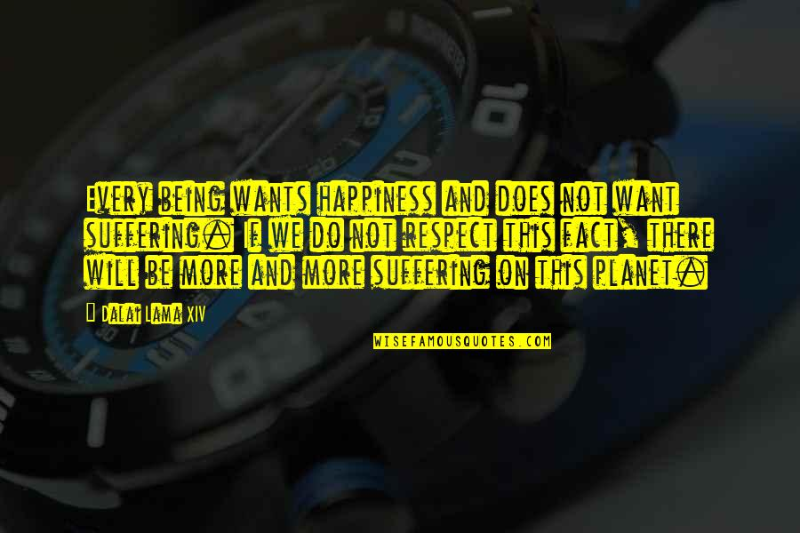 I Just Want Respect Quotes By Dalai Lama XIV: Every being wants happiness and does not want