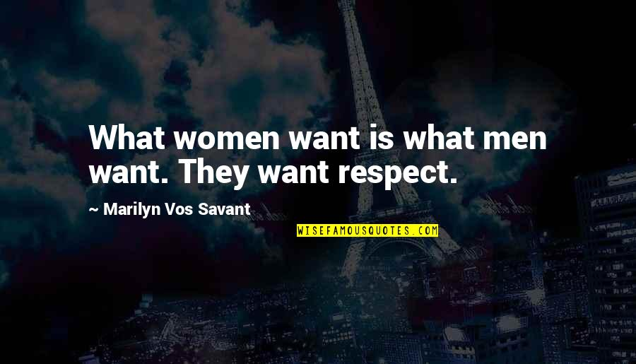 I Just Want Respect Quotes By Marilyn Vos Savant: What women want is what men want. They