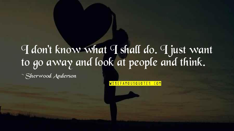 I Just Want To Travel Quotes By Sherwood Anderson: I don't know what I shall do. I