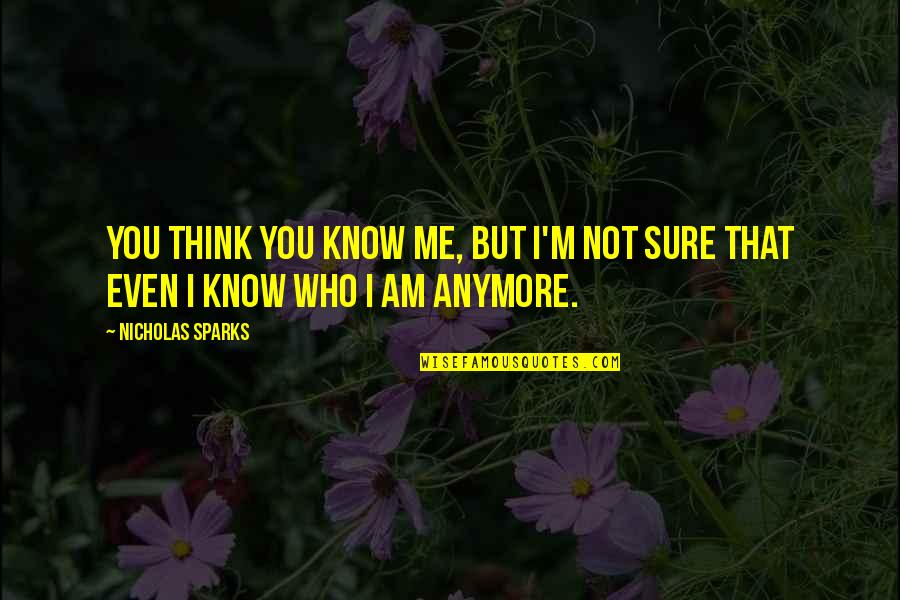 I Know I Lost You Quotes By Nicholas Sparks: You think you know me, but I'm not