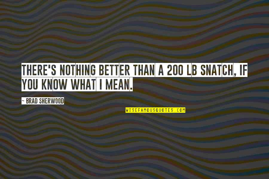 I Know I'm Better Than You Quotes By Brad Sherwood: There's nothing better than a 200 lb snatch,