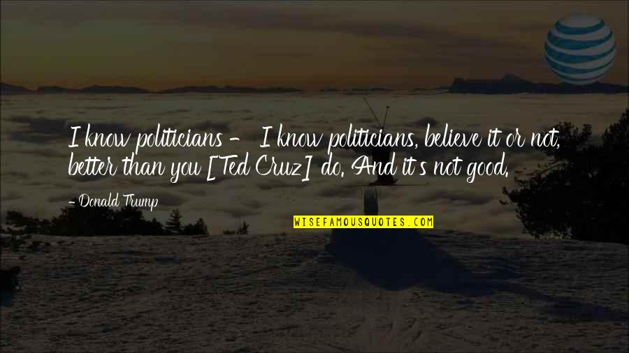 I Know I'm Better Than You Quotes By Donald Trump: I know politicians - I know politicians, believe