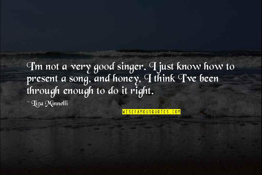 I Know I'm Right Quotes By Liza Minnelli: I'm not a very good singer. I just