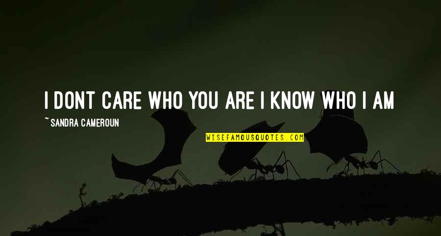 I Know You Care Quotes By Sandra Cameroun: I dont care who you are I know