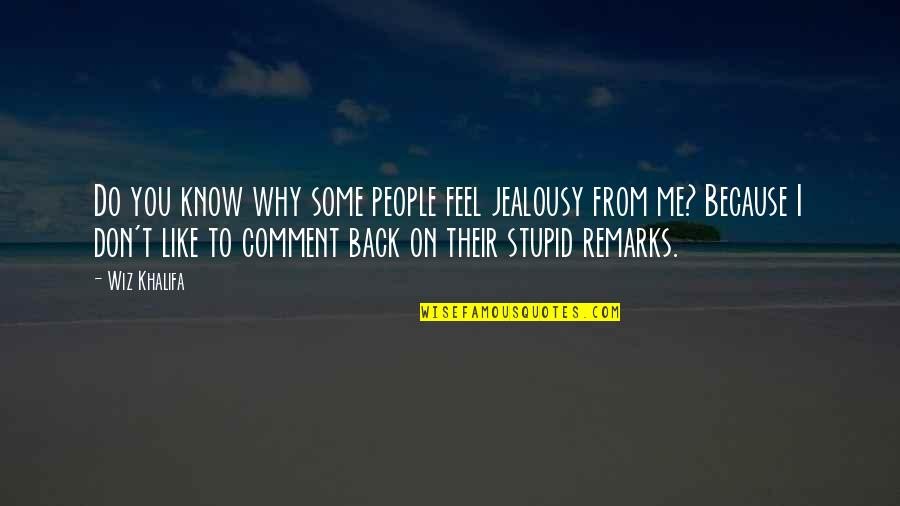 I Know You Don't Like Me Quotes By Wiz Khalifa: Do you know why some people feel jealousy