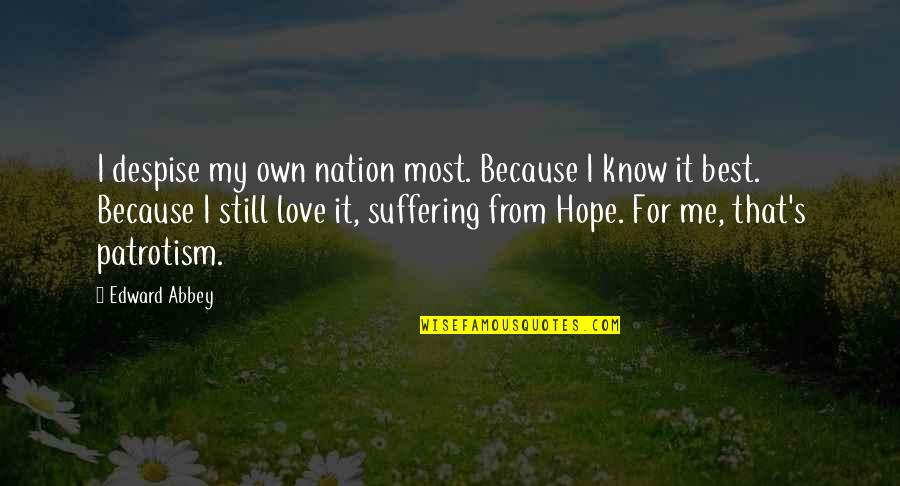 I Know You Still Love Me Quotes By Edward Abbey: I despise my own nation most. Because I