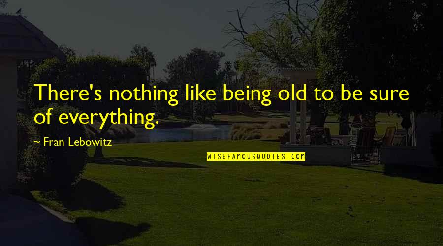I Like The Old You Quotes By Fran Lebowitz: There's nothing like being old to be sure