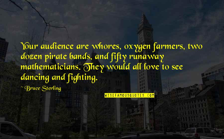 I Love Bands Quotes By Bruce Sterling: Your audience are whores, oxygen farmers, two dozen
