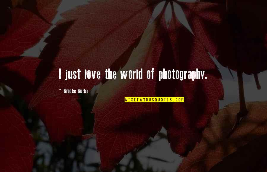 I Love My Photography Quotes By Brooke Burke: I just love the world of photography.