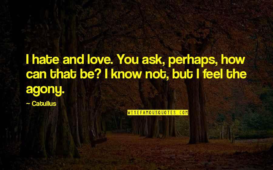 I Love You But Hate You Quotes By Catullus: I hate and love. You ask, perhaps, how