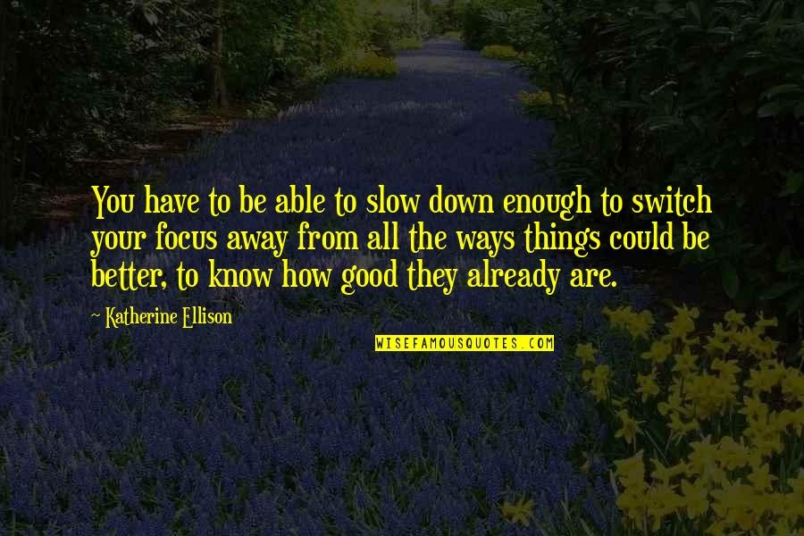 I Love You But I'm Not Good Enough Quotes By Katherine Ellison: You have to be able to slow down