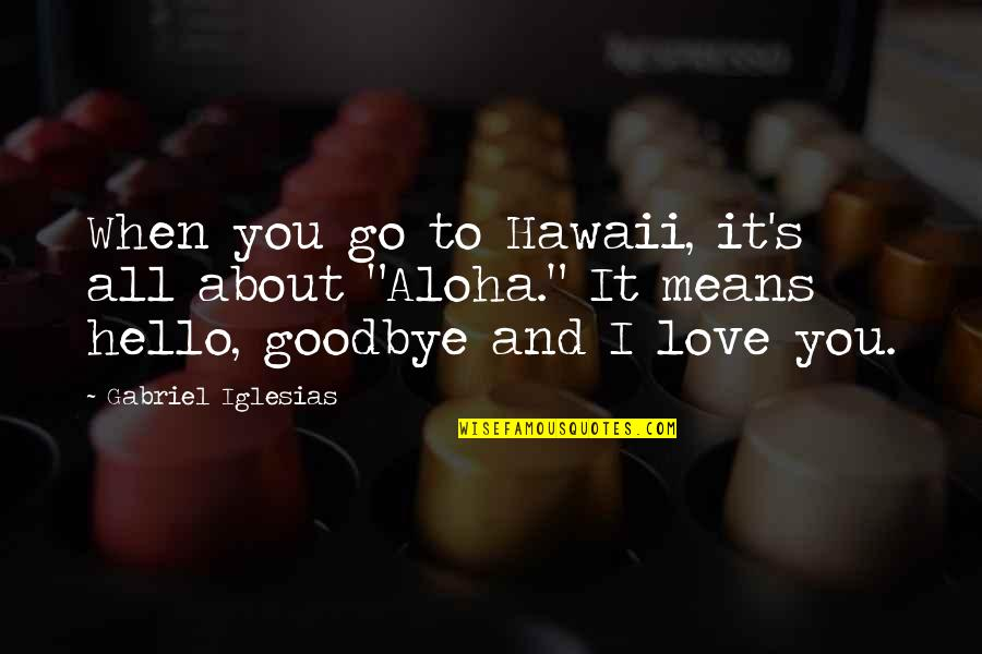 I Love You Mean Quotes By Gabriel Iglesias: When you go to Hawaii, it's all about