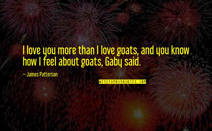 I Love You More Than You Know Quotes By James Patterson: I love you more than I love goats,