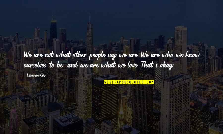 I Love You More Than You Know Quotes By Laverne Cox: We are not what other people say we