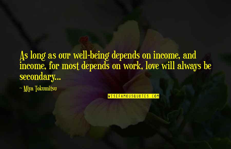 I Love You Now And Always Will Quotes By Miya Tokumitsu: As long as our well-being depends on income,