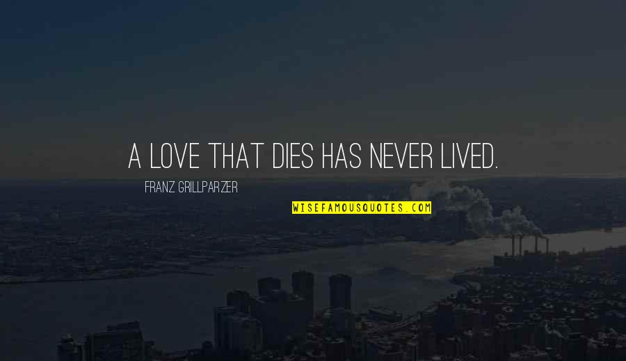 I Love You Too Death Quotes By Franz Grillparzer: A love that dies has never lived.