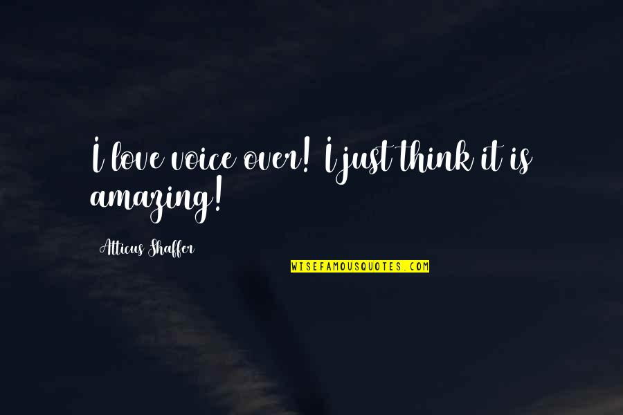 I Love You You're Amazing Quotes By Atticus Shaffer: I love voice over! I just think it