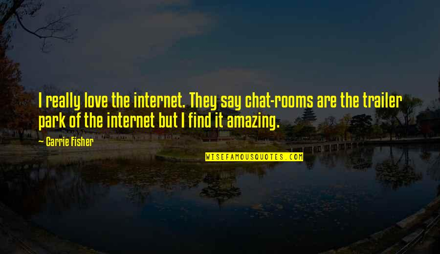 I Love You You're Amazing Quotes By Carrie Fisher: I really love the internet. They say chat-rooms