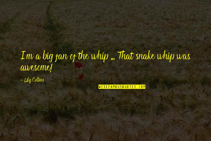 I M Awesome Quotes By Lily Collins: I'm a big fan of the whip ...