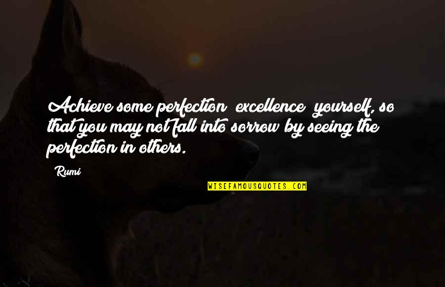 I May Fall Quotes By Rumi: Achieve some perfection [excellence] yourself, so that you