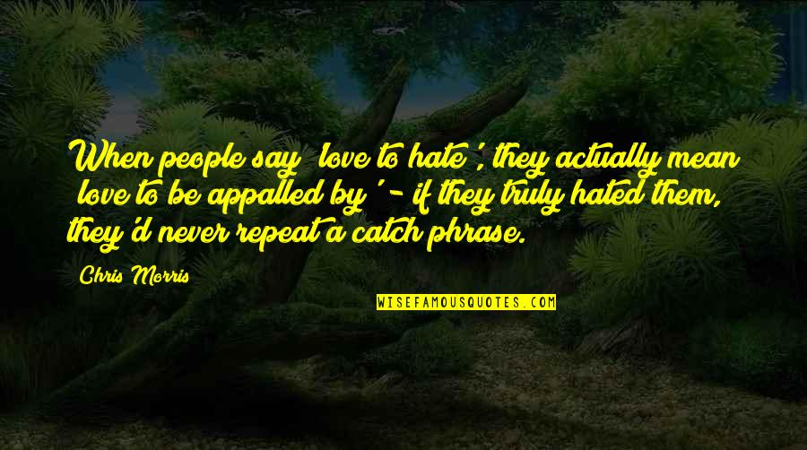 I Mean It When I Say I Love You Quotes By Chris Morris: When people say 'love to hate', they actually
