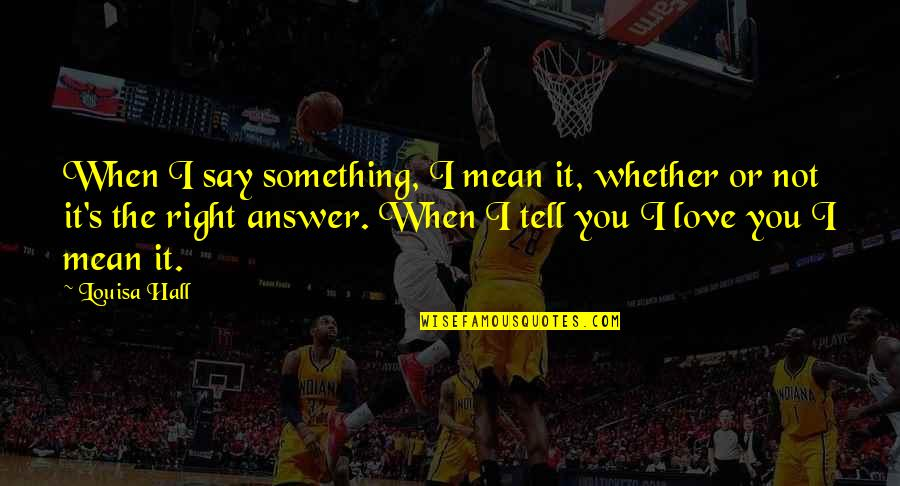 I Mean It When I Say I Love You Quotes By Louisa Hall: When I say something, I mean it, whether