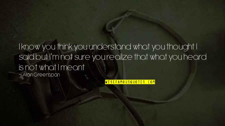 I Meant What I Said Quotes By Alan Greenspan: I know you think you understand what you