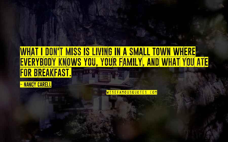 I Miss My Family Quotes By Nancy Carell: What I don't miss is living in a
