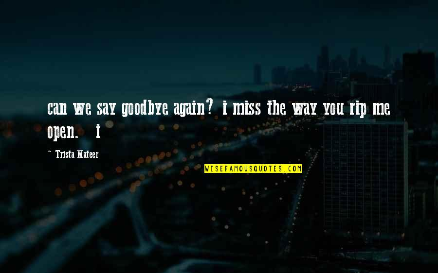 I Miss You Quotes By Trista Mateer: can we say goodbye again? i miss the