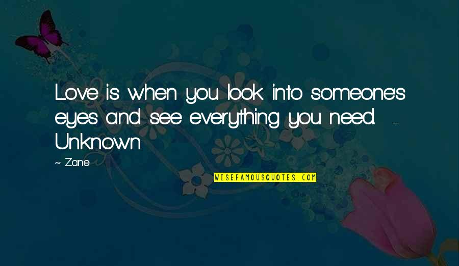I Need Someone Love Quotes By Zane: Love is when you look into someone's eyes