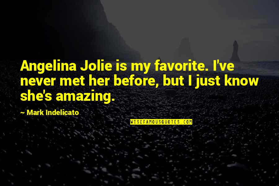 I Never Know Quotes By Mark Indelicato: Angelina Jolie is my favorite. I've never met